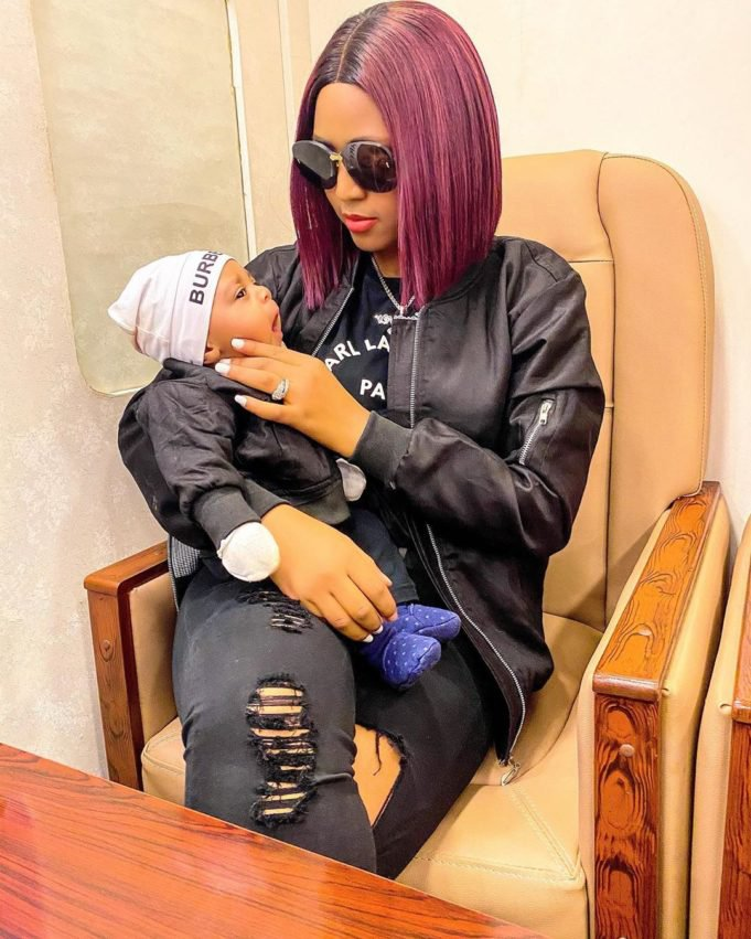 Regina Daniels with her son Munir